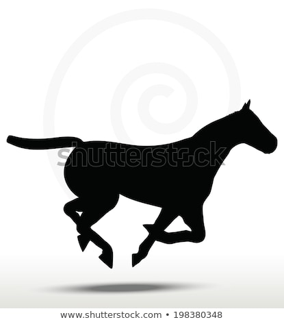 eps 10 vector   horse silhouette in running position stock photo © istanbul2009