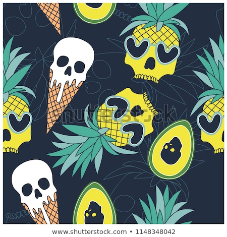 white cartoon skulls on black background seamless pattern stock photo © voysla