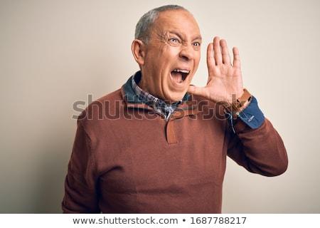 Starszy człowiek krzyczeć frustracja odizolowany biały Zdjęcia stock © bmonteny