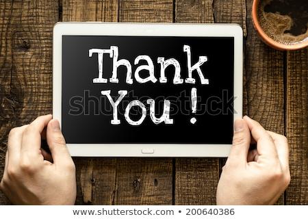 thank you on blank blackboard stock photo © pixelsaway