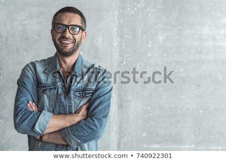 ファッション · 男 · 長い · 赤 · あごひげ · 眼鏡 - ストックフォト © feedough