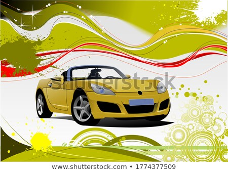 green and yellow grunge background with cabriolet image vector stock photo © leonido