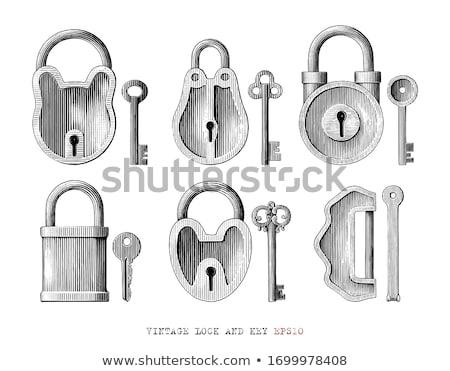 sleutel · hangslot · 3D · gegenereerde · foto · gouden - stockfoto © flipfine