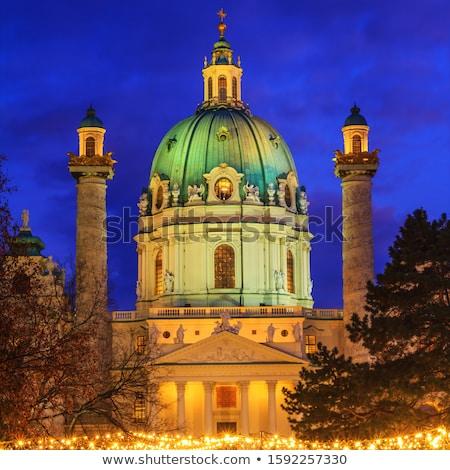 Bécs karácsony piac tér ház fa Stock fotó © LianeM