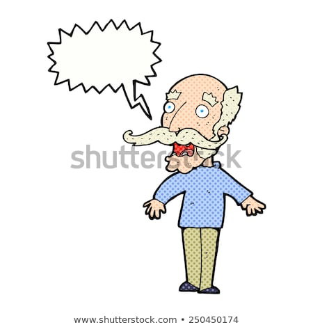 cartoon old man gasping in surprise with speech bubble Stock photo © lineartestpilot