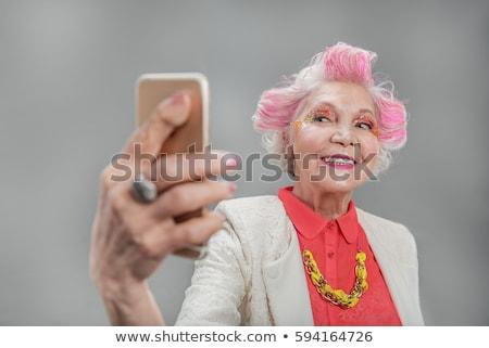Gelukkig senior vrouw poseren zwart wit afbeelding Stockfoto © Witthaya