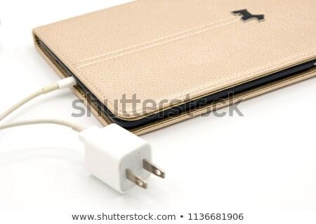 Ipad коричневый случае изолированный белый экране Сток-фото © artjazz