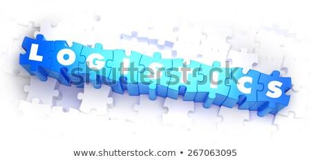 Logistica testo blu bianco rendering 3d colore Foto d'archivio © tashatuvango