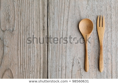 Rustic forks on a rustic wooden table Stock photo © ozgur