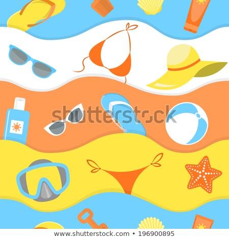 Summer beach essentials seamless pattern Stock photo © vectorikart