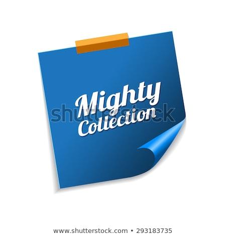 Machtig collectie Blauw sticky notes vector icon Stockfoto © rizwanali3d
