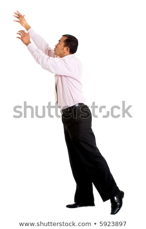 üzletember · mászik · valami · izolált · férfi · test - stock fotó © fuzzbones0