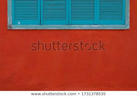 mavi · ahşap · duvar · Bina · inşaat · kapı - stok fotoğraf © zerbor