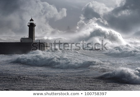 Océano muelle tempestuoso día olas Foto stock © stevanovicigor