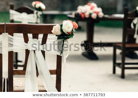decorato · ricevimento · di · nozze · selettivo · messa · a · fuoco · selettiva · fiori · party - foto d'archivio © amok