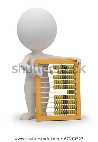 calculadora · plata · 3D · imagen · aislado · blanco - foto stock © anatolym