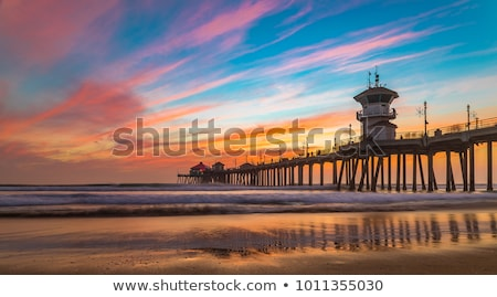 móló · Kalifornia · part · napsütés · üres · tengerpart - stock fotó © emattil