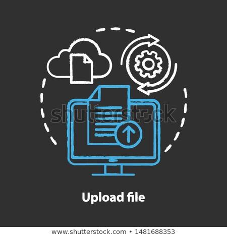 Transferring files cloud apps icon drawn in chalk. Stock photo © RAStudio