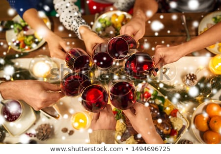 Mädchen · beten · Urlaub · Abendessen · Familie - stock foto © dolgachov