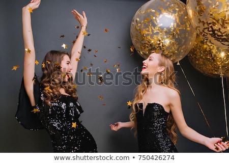 jong · meisje · bos · Rood · ballonnen · leuk - stockfoto © dashapetrenko
