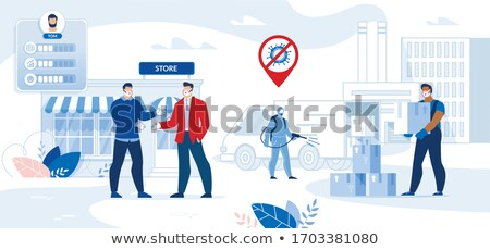 Stock fotó: üzletember · kézfogás · test · pálma · férfiak · öltöny