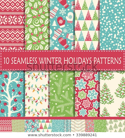 merry christmas seamless pattern vector set stock photo © beaubelle