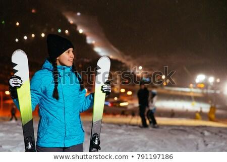 Photo stock: Joli · jeune · femme · stand · neige · colline
