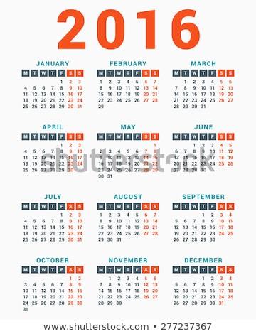 Foto d'archivio: Calendario · 2016 · bianco · settimana · semplice · vettore