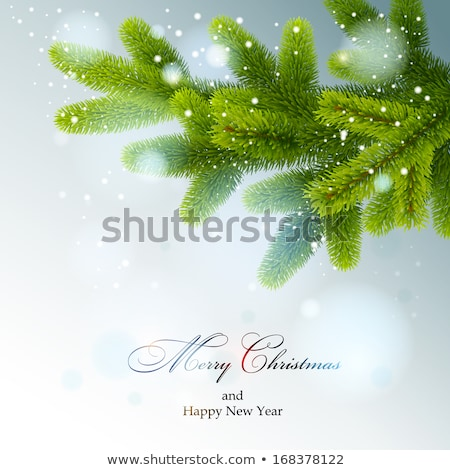 christmas tree branch with lights eps 10 stock photo © beholdereye