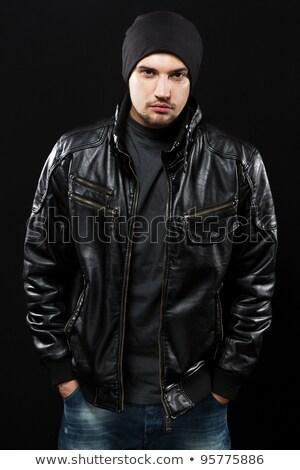 Stock fotó: Jóképű · fiatalember · fekete · bőrdzseki · portré · izolált