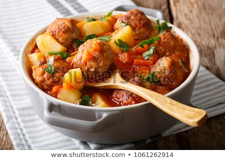Delicious soup appetizer with meatballs stock photo © ozgur