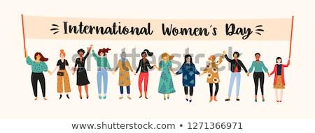 Nemzetközi nőnap nő papír szeretet divat Stock fotó © shawlinmohd