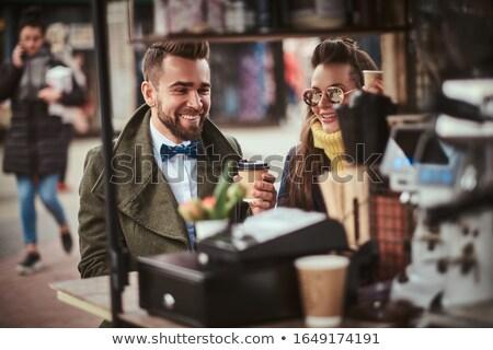 улыбаясь пару Бариста портрет кофейня Сток-фото © wavebreak_media