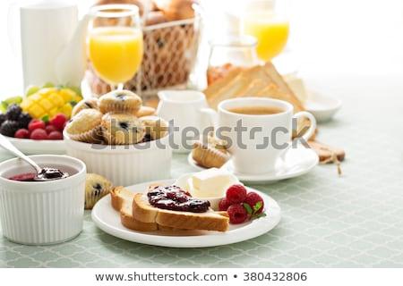 słodkie · śniadanie · kontynentalne · maku · nasion · toczyć · masło - zdjęcia stock © digifoodstock