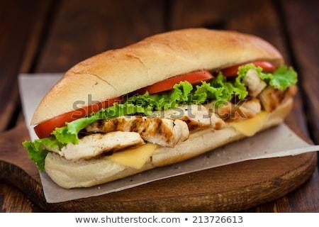 frango · grelhado · sanduíche · abrir · peito · carne · brinde - foto stock © Digifoodstock