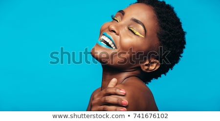 africaine · femme · or · bleu · métallique · maquillage - photo stock © lubavnel