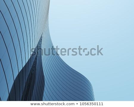 Homlokzat modern épület kék felhőtlen égbolt iroda Stock fotó © O_Lypa