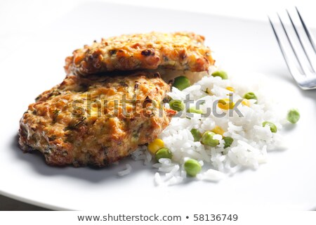 baked salmon burgers with vegetables rice stock photo © phbcz