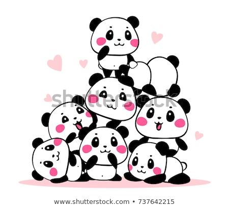 パンダ 多くの 子供 実例 子 背景 ストックフォト © bluering