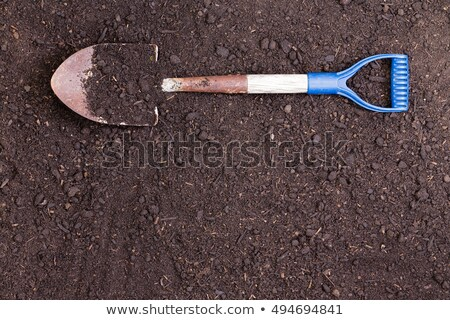 spade lying on a prepared bed of rich health soil stock photo © ozgur