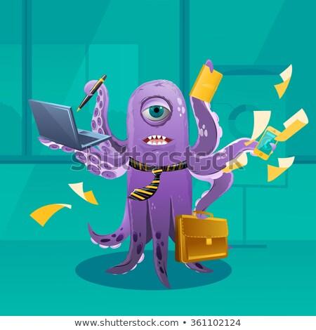 Сток-фото: Cartoon · осьминога · Boss · большой · человека · бизнесмен