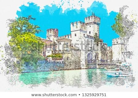 Italian Stamp Scaliger Castle, Castello Scaligero Sirmione Italy Stock photo © Qingwa