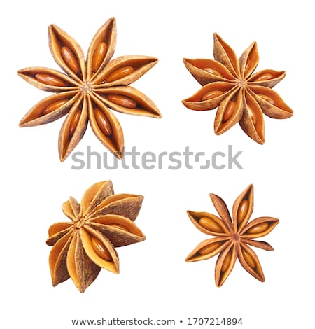 Foto stock: Anise Star Spice Heap Closeup Background