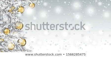 Stock photo: Christmas White Header Frozen Fir Twigs And Baubles