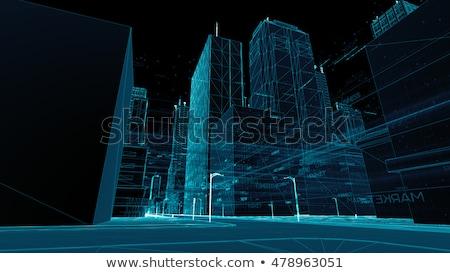 épület drótváz 3d render város vektor terv Stock fotó © m_pavlov