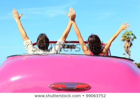 Dos jóvenes feliz ninas conducción cabriolé Foto stock © vlad_star