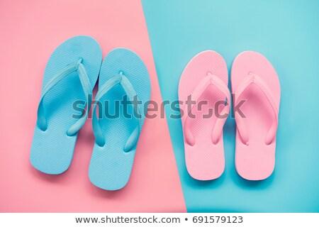 Plaży sandały niebieski różowy ilustracja tle Zdjęcia stock © bluering