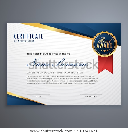 achievement certificate template with abstract blue shapes vector