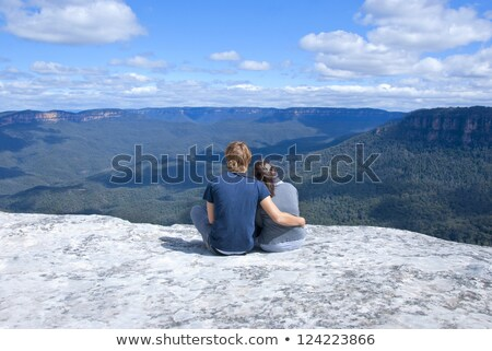 Sitting on the edge of wilderness Blue Mountains Australia Stock photo © lovleah