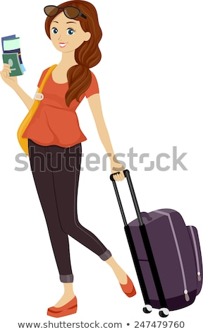 Young woman dragging lluggage. Vector illustration. Stock photo © maia3000